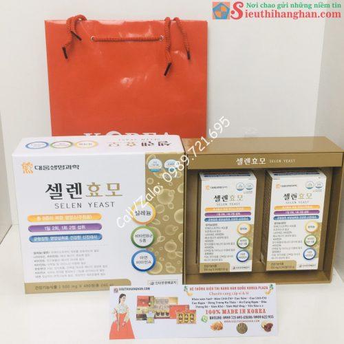 Mặt trước và túi và mở hộp Thuốc Bổ Tăng Cân An Toàn Hàn Quốc Daewoong Selen Yeast