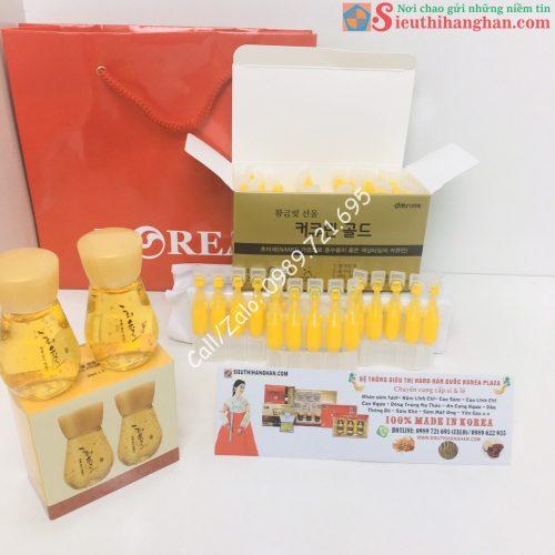 Hộp và túi kèm quà tặng khi mua Tinh Nghệ Nano Curcumin Gold Hàn Quốc