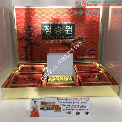 Tinh Dầu Thông Đỏ Cheongsongwon Hộp Đỏ Chính Phủ Cao Cấp Hàn Quốc - Dành cho người máu nhiễm mỡ, gan nhiễm mỡ4